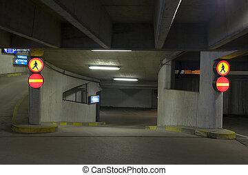 Undeground parking - Empty underground parking, way to the...