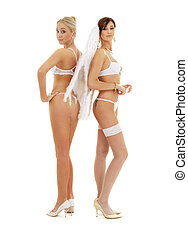 white lingerie angels - white lingerie angel girls on high...