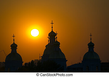 Church and sun - Church in St.-Petersburg in beams of the...