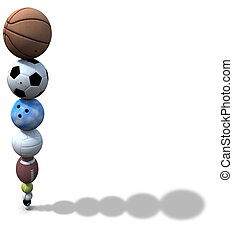 Sports Ball Stack Background - Stack of golf, pool,...
