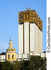 Big and small - Moscow\\\'s skyscraper with decoration on...