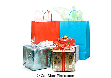 Christmas presents - A shot of shopping bags and christmas...