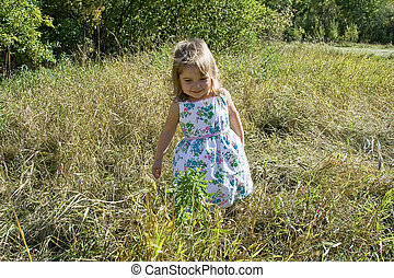 Little Girl in Grass - a little girl is standing in a field...
