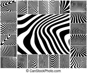 Zebra stripes - Collection of wavy zebra-like stripe...