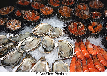 Seafood decoration 2 - Seafood oysters, shrimps,...
