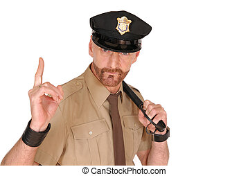 Police officer - Attractive, mid fifties bearded police...
