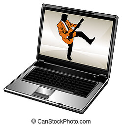 Laptop - Humorous silhouette of businessman and opened...