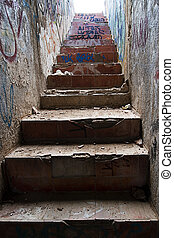 dirty stairs - Old stairs, partially ruined and very dirty....