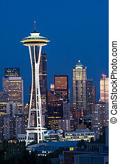 Seattle at dawn - Seattle highrises with Space needle in the...