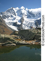 Bernina Gruppe - View from Fourcla Surlej to the mountain...