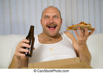 Beer and pizza - Unhealthy fat man sitting on the couch...