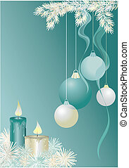 christmas decoration - Green christmas background with...
