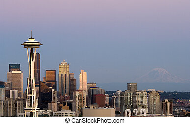 Seattle panorama - Seattle highrises with Space needle and...
