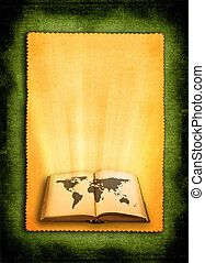 world map - open old book with world map against retro...