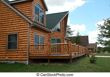 Log cabin - Side view of a luxurious log cabin