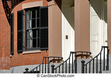 brick classic entry - detail of entry and window to old home...