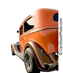 Isolated Classic Car - Bright orange classic car isolated on...
