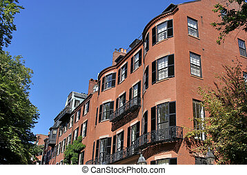 childs eye view of bost - childs eye view of old brownstones...