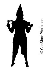 Silhouette over white with clipping path.  Teen or woman celebrating party occasion.