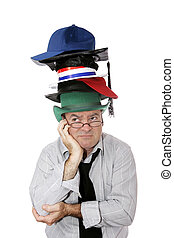 Too Many Hats - A discouraged businessman or academic...