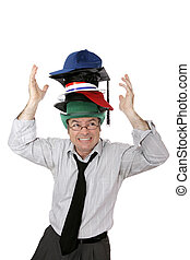 Wearing Too Many Hats - Businessman overwhelmed by too many...