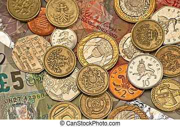 British pounds - Variety of British pounds and pennies money