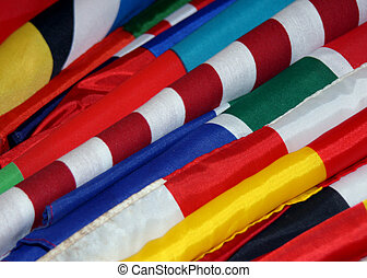 World Flags - close-up photo of flags from various countries