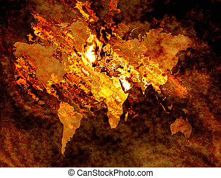 map of the world on fire