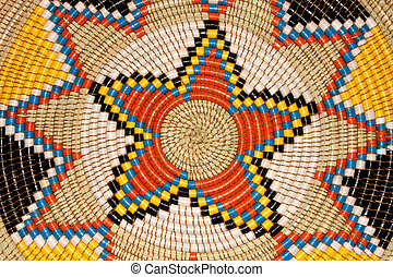 African basket - Colorful pattern on a hand woven African...
