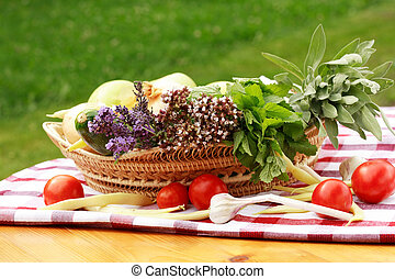 Harvest - Basket full of fruits and vegetables, concept of...