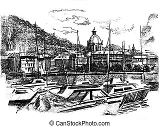 Como lake port view. Boats and city as background. Hand made...