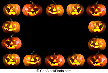 halloween - black frame made of carved halloween pumpkins