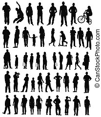 People lifestyle,business,shopping - isolated silhouettes on...