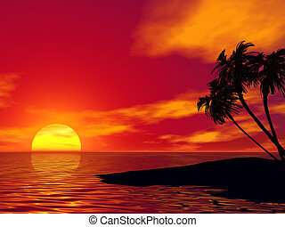 Palm tree and ocean 3D rendered scene