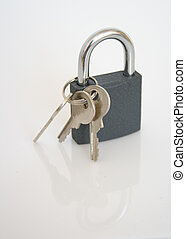 Closed padlock over white - Closed padlock against white...