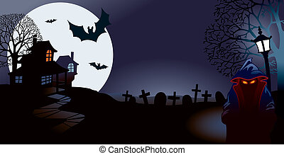 Halloween night, perfect illustration for Halloween holiday