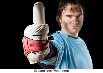 Thumbs up - Goalkeeper with thums up. Studio picture