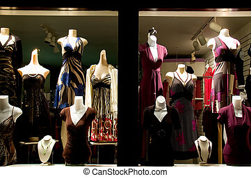 Dress Shop - Photo of a dress shop window taken at night.