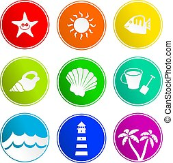 beach sign icons - collection of beach sign icons isolated...