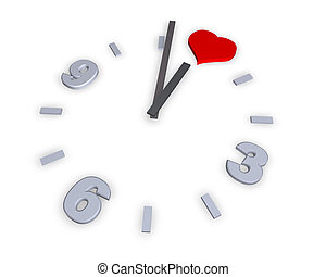 heart - clock with heart symbol - 3d illustration