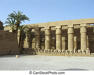 Ram-headed sphinxes in the forecourt of the Temple of Amun...
