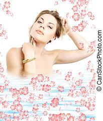 golden bracelet girl in water