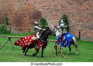 Medieval knights jousting - Medieval knights fighting...