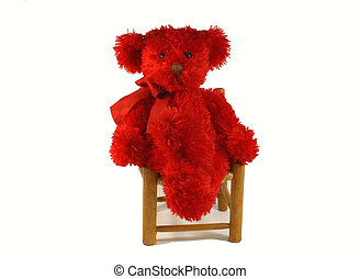 teddy bear in a chair - red teddy bear in a chair over white