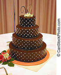 Chocolate wedding cake - A decorated chocolate wedding cake
