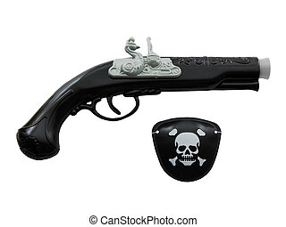 Pirate gun and eye patch isolated on white