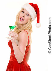 Christmas Party - Attractive blond woman wearing sexy red...