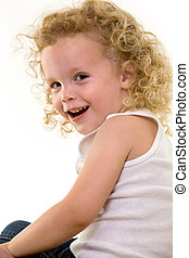 Curly blond hair - Portrait of an adorable little three year...