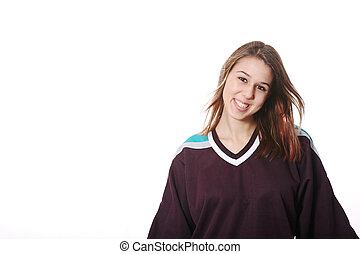 Hockey Girl - Smiling girl-next-door type in hockey sweater