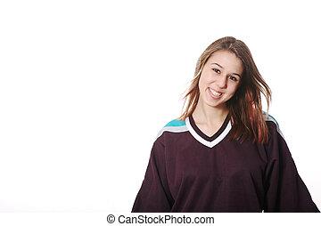 Hockey Girl - Smiling girl-next-door type in hockey sweater.